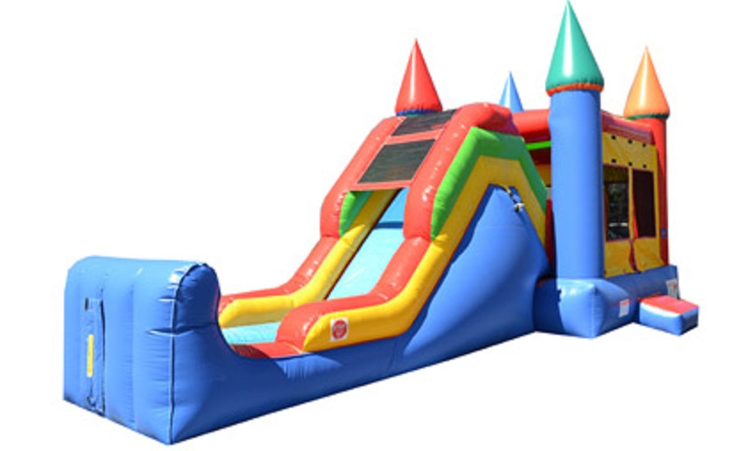 Prince/Princess Castle Moonwalk Rental with Slide Rentals in Worcester County, Massachusetts.