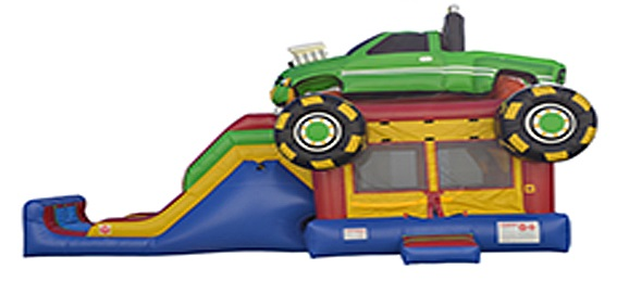Monster Truck Bounce House With Water Slide Combo Rental Unit in Massachusetts.